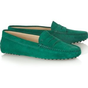 Tod's Gommini Suede Driving Shoe, Green